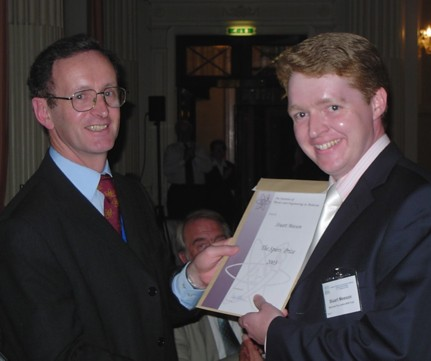 Receiving award from the IPEM President, Prof. Peter Williams, at the conference dinner. (Photograph by Lindsay Grant.)